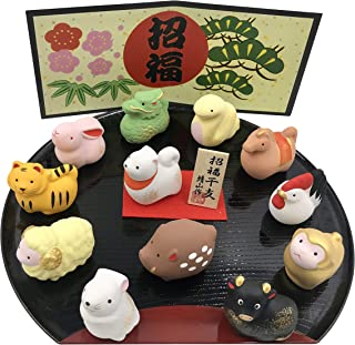 One Set of 12 Ceramic Chinese Zodiac Animal Figurines. Each Animal Represents One Year of the 12 Year Cycle. A Black Plastic Display Tray a Decorative Cardboard Backdrop is Included