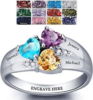 Sterling Silver Mothers Rings with Birthstones, Choose 3 Birthstones 3 Names and 1 Engraving Customized and Personalized