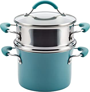 Rachael Ray Cucina Nonstick Sauce Pot/Saucepot with Steamer Insert and Lid, 3 Quart, Agave Blue