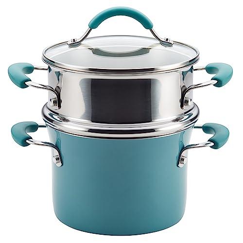 Rachael Ray Cucina Nonstick Sauce Pot/Saucepot with Steamer Insert and Lid, 3 Quart, Agave Blue