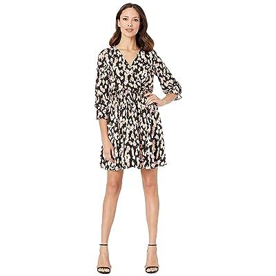 eci Animal Printed 3/4 Cuffed Sleeves Fit Flare Dress (Black/Blush) Women