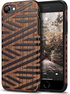 Tasikar Compatible with iPhone 7 Case/iPhone 8 Case Easy Grip Leather and Wood Grain Design Compatible with iPhone 7 / iPhone 8 (Leather & Wood)