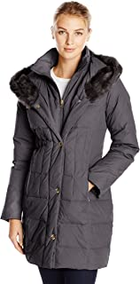 Women's Down-Filled Coat with Faux Fur-Trimmed Hood