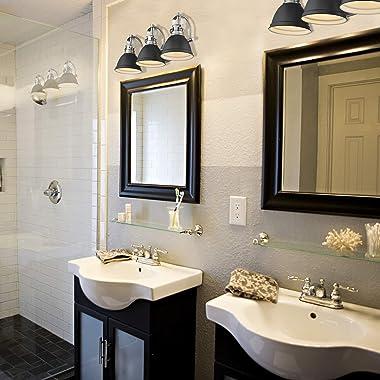 Emliviar 3-Light Bathroom Vanity Light Fixture, Black Finish with Metal Shade, 4054H-A