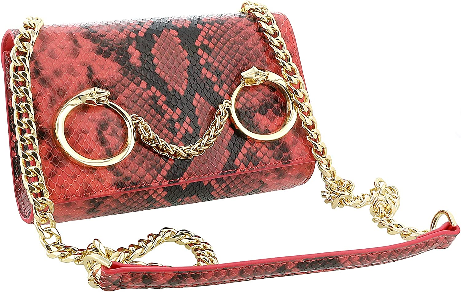 Roberto Cavalli Class Coral Snakeskin Textured Millie Deluxe Small Clutch for womens