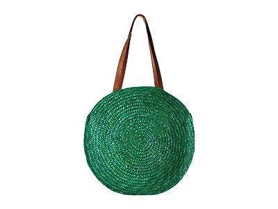 San Diego Hat Company BSB1747 Round Wheat Straw Tote (Green) Handbags