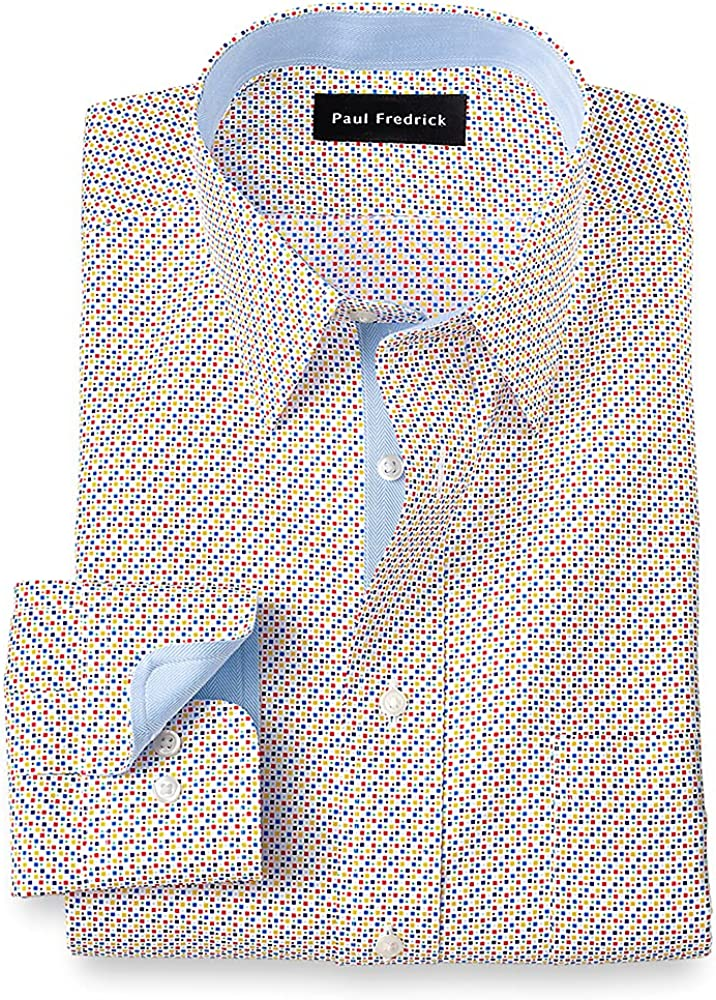 Paul Fredrick Men's Tailored Fit Non-Iron Cotton Dot Dress Shirt