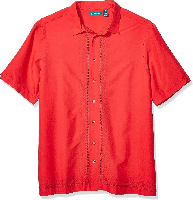 Cubavera Men's Big and Tall Big & Tall Ombre L Shape Embroidery Shirt