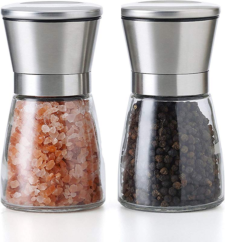 Salt And Pepper Grinder Set Of 2 Salt And Pepper Shakers With Adjustable Coarseness By Ceramic Rotor Stainless Steel Pepper Mill Shaker And Salt Grinders Mills Set Small