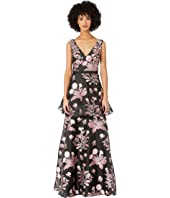 Marchesa Notte - Sleeveless V-Neck Floral 3D Beaded Embroidered Floral Fils Coupe Tiered Gown