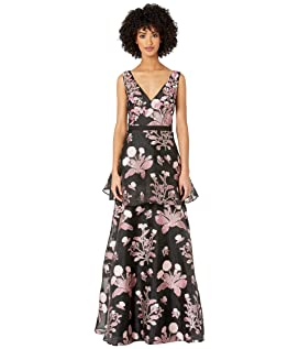 40baa30b743 ... Sleeveless V-Neck Floral 3D Beaded Embroidered Floral Fils Coupe Tiered Gown  Marchesa ...