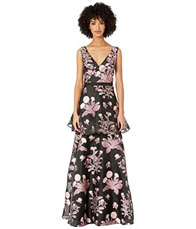 Marchesa Notte Sleeveless V-Neck Floral 3D Beaded Embroidered Floral Fils Coupe Tiered Gown (Black) Women