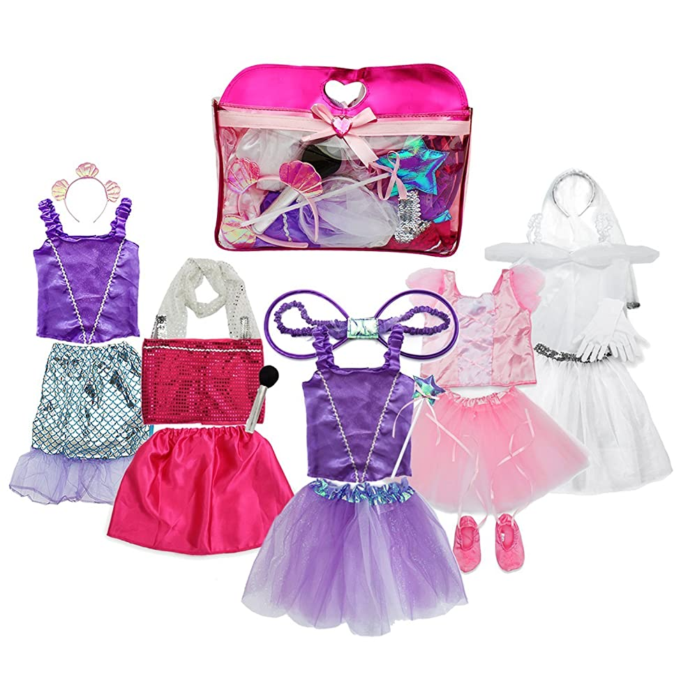 Toiijoy Girls Dress up Costume Set Princess,Fairy,Mermaid,Bride,Pop Star Costume for Little Girls Toddler Ages 3-6yrs