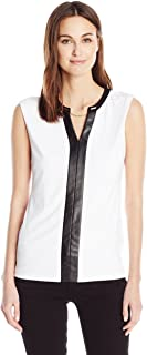 Calvin Klein Women's V-Neck Tank with Faux-Leather and Chain