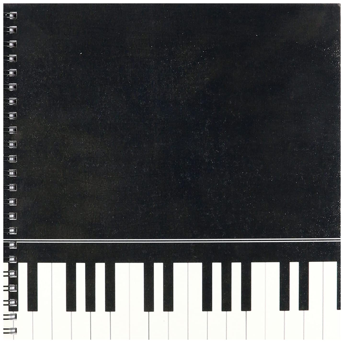 3dRose db_112947_1 Black Piano Edge-Baby Grand Keyboard Music Design for Pianist Musical Player and Musician Gifts-Drawing Book, 8 by 8-Inch