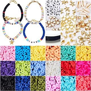 4000+pcs Glass Seed Beads 4mm Small Crafts Beads with Jump Rings,Lobster Clasps,Tweezers,Scissors and Elastic String for J...