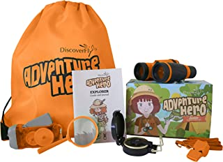 Outdoor Explorer Kit for Kids – Children's Toy Binoculars, Magnifying Glass, Flashlight, Compass, Whistle, Backyard Bugs Book – Perfect Gift Set for 3-12 Year Old Boys and Girls Camping & Nature Exploring