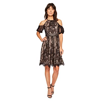 Maggy London Chantilly Lace Placed Cold Shoulder Fit and Flare (Black) Women