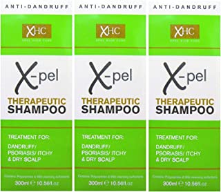 Xpel Hair Care - Champú terapéutico Xpel (3 envases de 300 ml) para tratamiento contra la caspa, la psoriasis y los picores en el cuero cabelludo