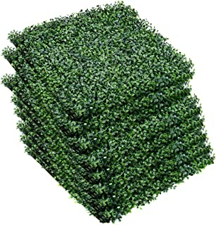 Giantex Artificial Privacy Fence Screen Boxwood Milan Leaf Grass Hedge Panels Mat Indoor Outdoor Topiary Decorative Fake Plant Wall 20
