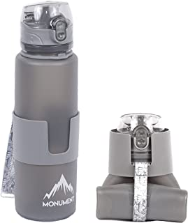 Monument Collapsible Water Bottle - One Touch Cap - BPA Free Silicone, 22 Ounces Great for: Hiking, Camping, Traveling, Biking, Cycling, Yoga, Climbing, Snowboarding, Skiing, Surfing