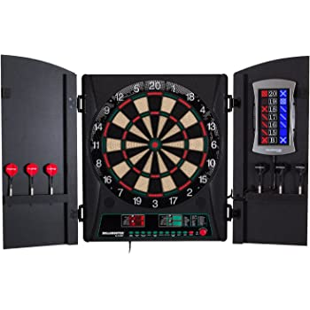 """Bullshooter Cricket Maxx 1.0 Electronic Dartboard Cabinet Set with 13.5"""" Target Area, Wooden Cabinet Doors with Walnut Finish and 34 Games with 183 Variations (4 Cricket Games)"""