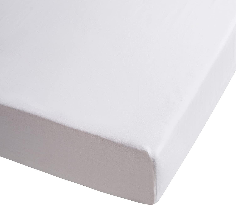Sancarlos - Sábana bajera , 100% Algodón percal, Color blanco, Cama de 105
