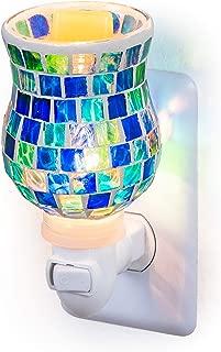 Dawhud Direct Mosaic Glass Plug-in Fragrance Wax Melt Warmers (Ocean Blue)