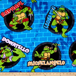 Springs Creative Products Nickelodeon TMNT Fleece Turtle Power Sewer Holes And Names Blue Fabric by the Yard