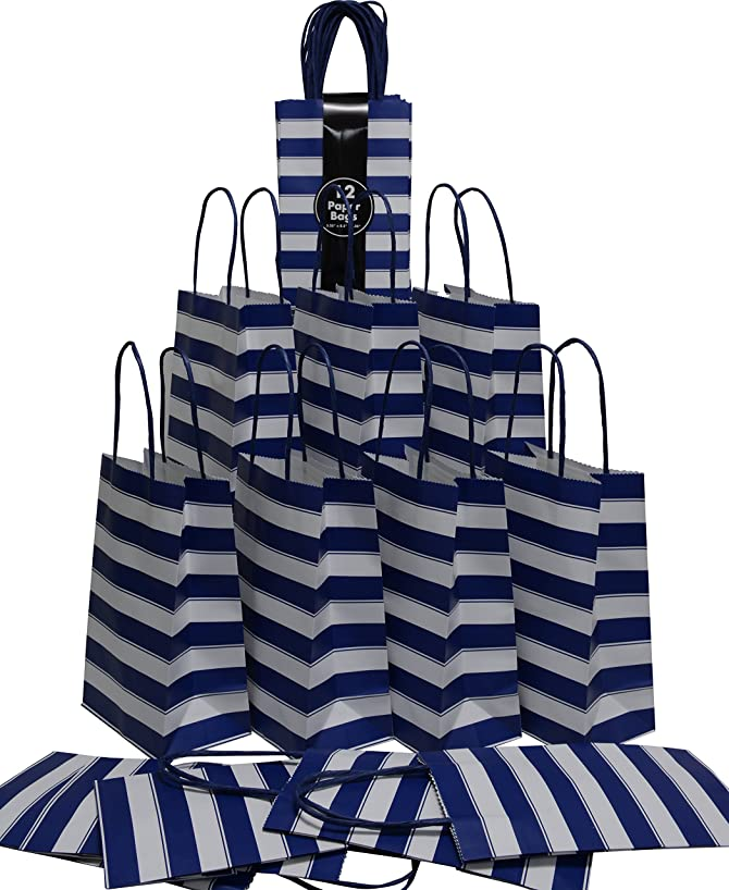 Medium Kraft Gift Bag, Color Stripe Design with matching handles, 2 packs bulk set of 24 bags (Blue & White, Petite 5.25