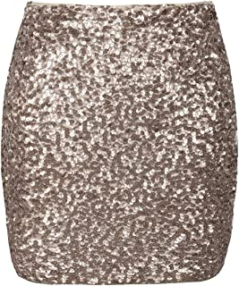 Women's Sequin Skirt Stretchy Bodycon Sparkle Mini Skirt Night Out