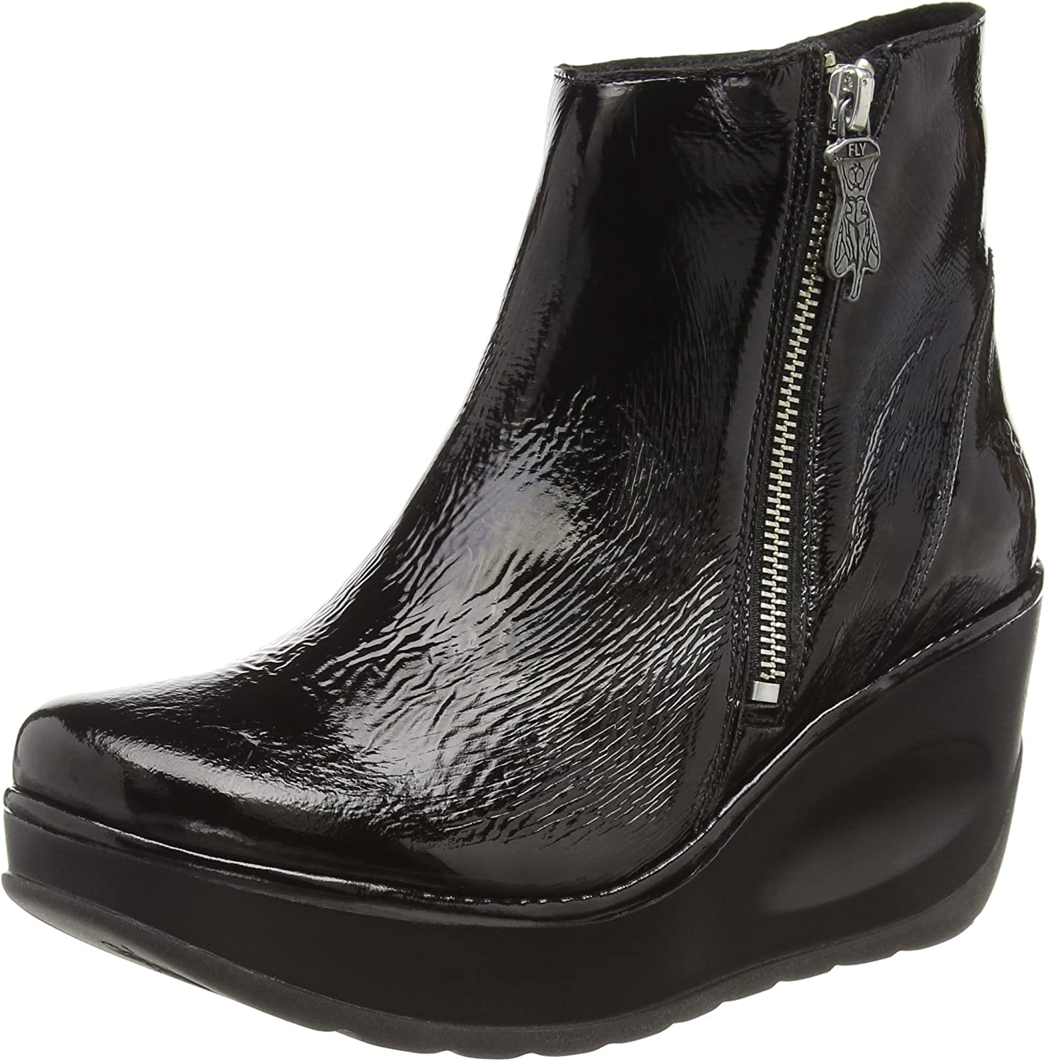 Fly London Women's Jome Luxor Leather Zip up Wedge Boot Black