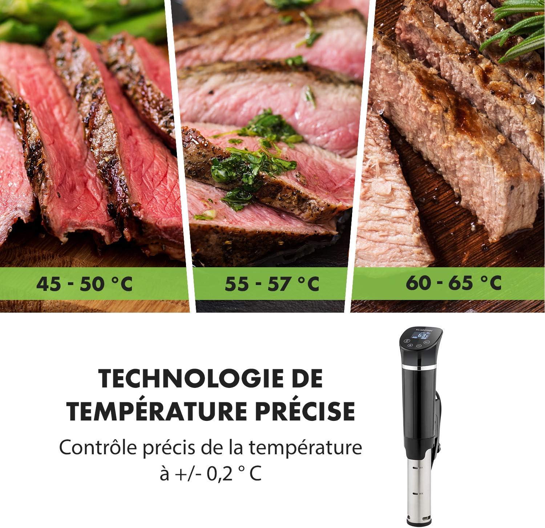 Klarstein Quickstick - Cuiseur sous-vide, Thermostat, Pompe de circulation, 1300 W, Pour des casseroles jusqu'à 20 L, Réglage précis de la température, noir/argent Pompe Flex Noir