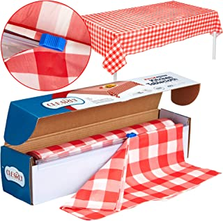 """Red Gingham Plastic Tablecloth Roll With Cutter, 100' x 52"""" - Heavy Duty Party Table Cloth In Self Cutting Box - For Picni..."""