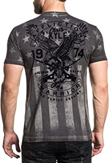 Affliction Men's CK Freedom Tee Shirt White Oil Stain