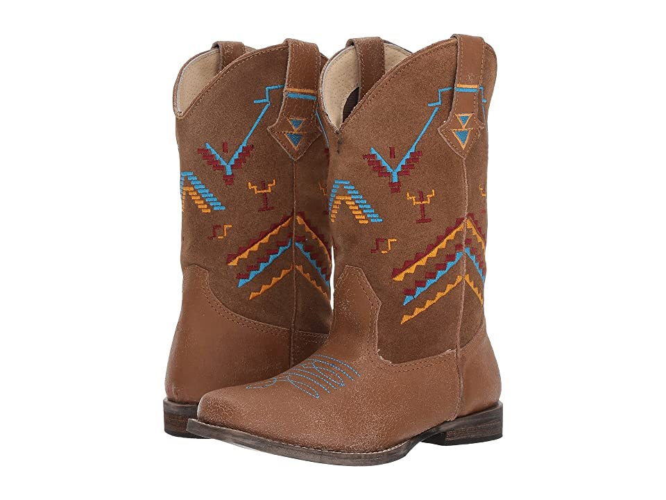 Roper Kids Hunter (Toddler/Little Kid) (Tan Leather Vamp/Embroidered Shaft) Cowboy Boots