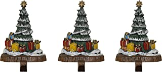 Lulu Decor, Cast Iron Decorative Christmas Tree Stocking Holders, Set of 3 Trees on bark Style cast Iron Base, Solid and Beautiful, Each 7.5