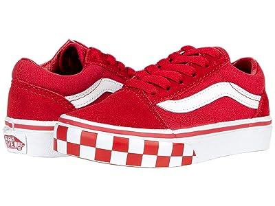 Vans Kids Old Skool (Little Kid) ((Check Bumper) Chili Pepper/True White) Boys Shoes