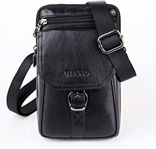 Unisex Sling Bag Leather Genuine Leather Waist Pack Travel Leather Messenger Bag Cellphone Phone Cases Pouch Holsters Hip Bum Pack Cigarette Pouch