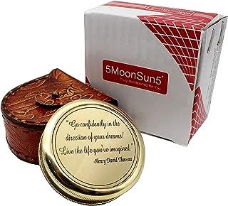 5MOONSUN5's Thoreau's Go Confidently Poem Engraved Compass Vintage Maritime Brass Handmade Pocket Nautical Gift (Gold Finish)