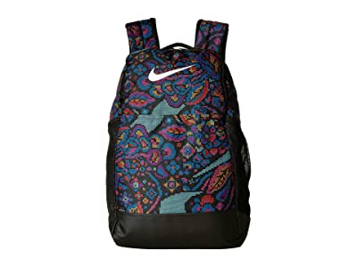 Nike Brasilia All Over Print 3 Medium Backpack 9.0 (Black/Hyper Pink/White) Backpack Bags