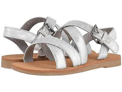 TOMS Kids Sicily (Little Kid/Big Kid) (Silver Metallic Shantung) Girls Shoes
