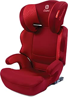 Diono everett Nxt Fix Booster Seat, 7 Position Adjustable Headrest, Forward-Facing 40-120 Pounds - with Rigid Uas - Designed to Grow, Built to Last - Red
