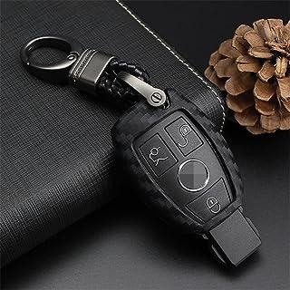 M.JVisun Soft Silicone Rubber Carbon Fiber Texture Cover Protector For Mercedes-Benz Fob, Car Key Fob Case For Mercedes A ...