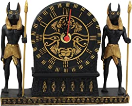 Ebros Ancient Egyptian God Of Afterlife Anubis With Wadjet Eye Of Horus And Scarab Table Clock Statue 6.75