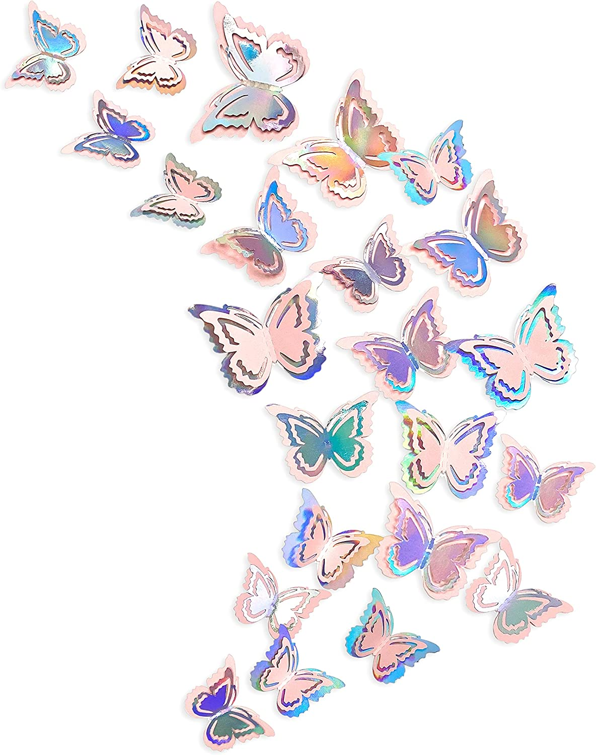 pinkblume Iridescent Pink Butterfly Decorations Stickers Blush 3D Butterfies Wall Art Removable Wall Decals for Holographic Unicorn Pastel Home Living Room Baby Bedroom Showcase Nursery Decor (27PCS)
