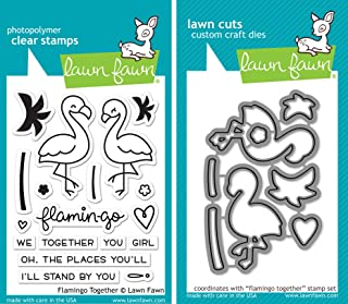 Lawn Fawn Flamingo Together Stamp and Die Set - Two item Bundle