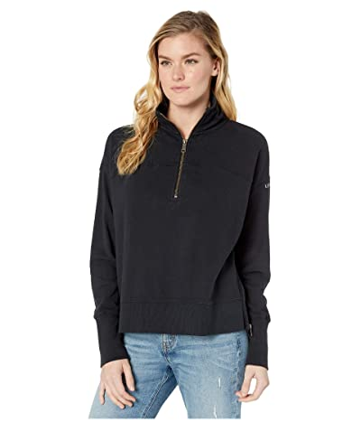 Life is Good Raw French Terry 1/4 Zip (Night Black) Women