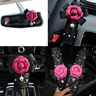 Follicomfy Cute Camellia Flower Leather Car Handbrake Cover Gears Shift Case Crystal Seatbelt Cover Auto 5PCS/Set Interior Accessories,Rose Red Flower