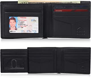 RFID Mens Wallet Deluxe Capacity Hybrid Flipout ID Bifold With Divided Bill Section